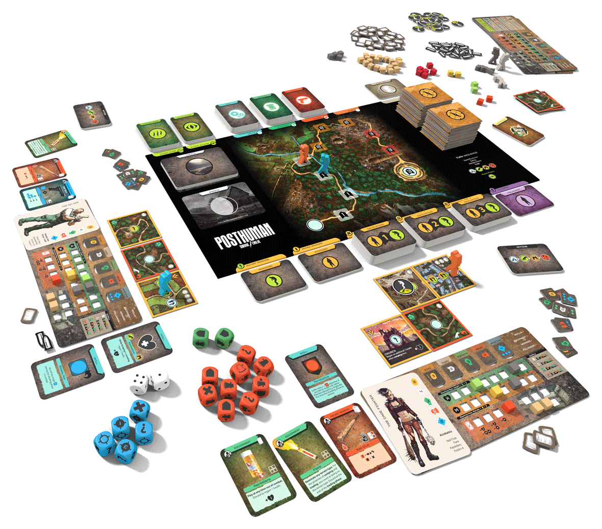 Posthuman - Board game components